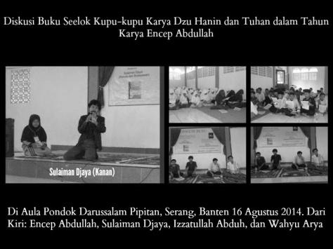 Di Aula Pondok Darussalam Pipitan, Serang, Banten 16 Agustus 2014 Dari Kiri Encep Abdullah, Sulaiman Djaya, Izzatullah Abduh, dan Wahyu Arya